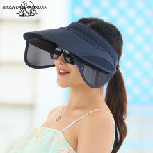 BINGYUANHAOXUAN 2018 New Retractable Sun Visor Female Summer Hat Top Vacuum UV Riding Woman Beach