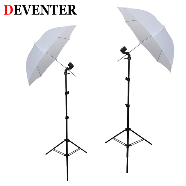 "Deventer 2PC 88cm/34.6""Soft Umbrella Photo Studio+2PC E27 lamp+2PC Light Stand Photography Softbox Reflective umbrella Light Kit"