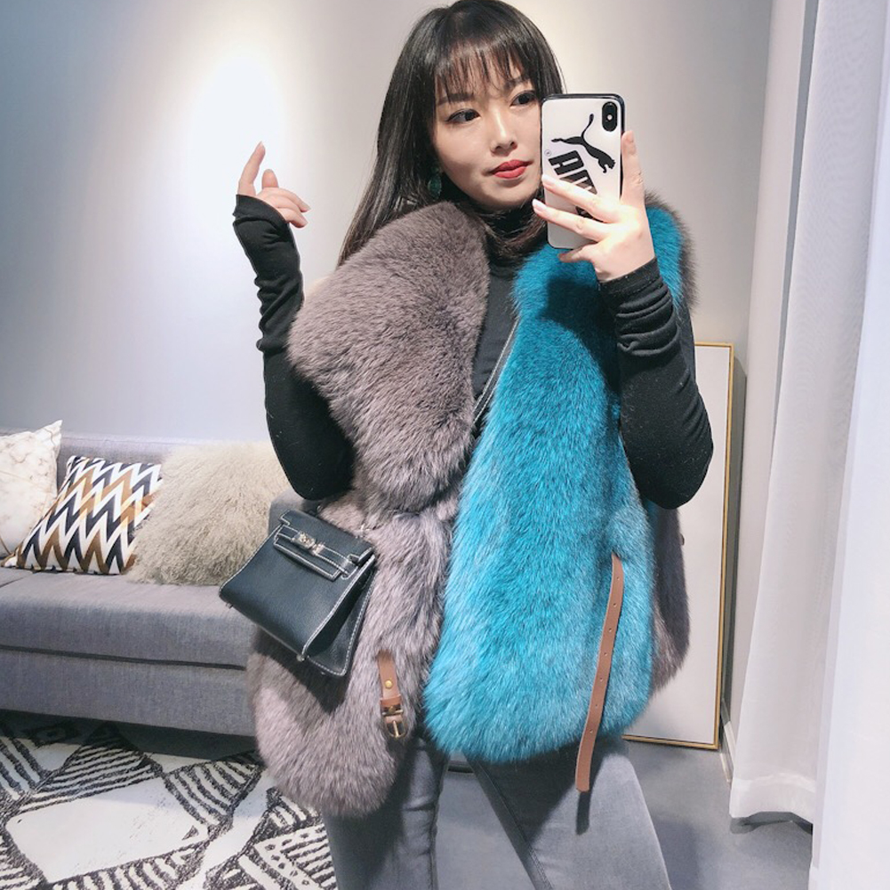 Women's Fox Fur Vest Women's Autumn And Winter New Genuine Leather Vest Women's Winter Vest