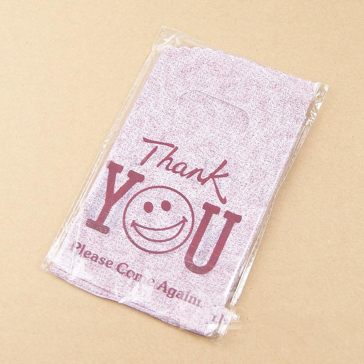 Лидер продаж; Новинка Дизайн Оптовая 50 шт./лот 9*15 см Хорошее качество мини спасибо подарочные пакеты Малый Пластик мешки для упаковки покупок