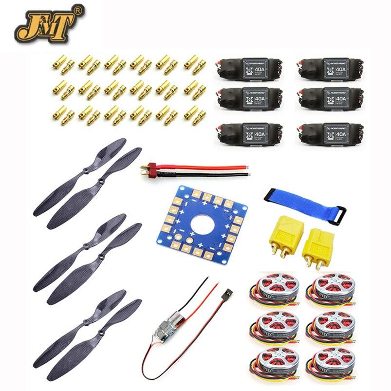 JMT 40A moteur sans balais ESC + 350KV 14x4.7 3 K CF hélice CW CCW 1447 ESC carte de connexion XT60 T prise