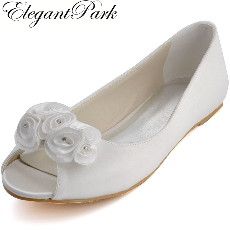 EP31015 Woman Flat Fashion Ivory Bridal Shoes Peep Toe Ladies' Shoes Rhinestone Flower Plus Size Satin Wedding Shoes Woman Flats-in Women's Flats from Shoes    1