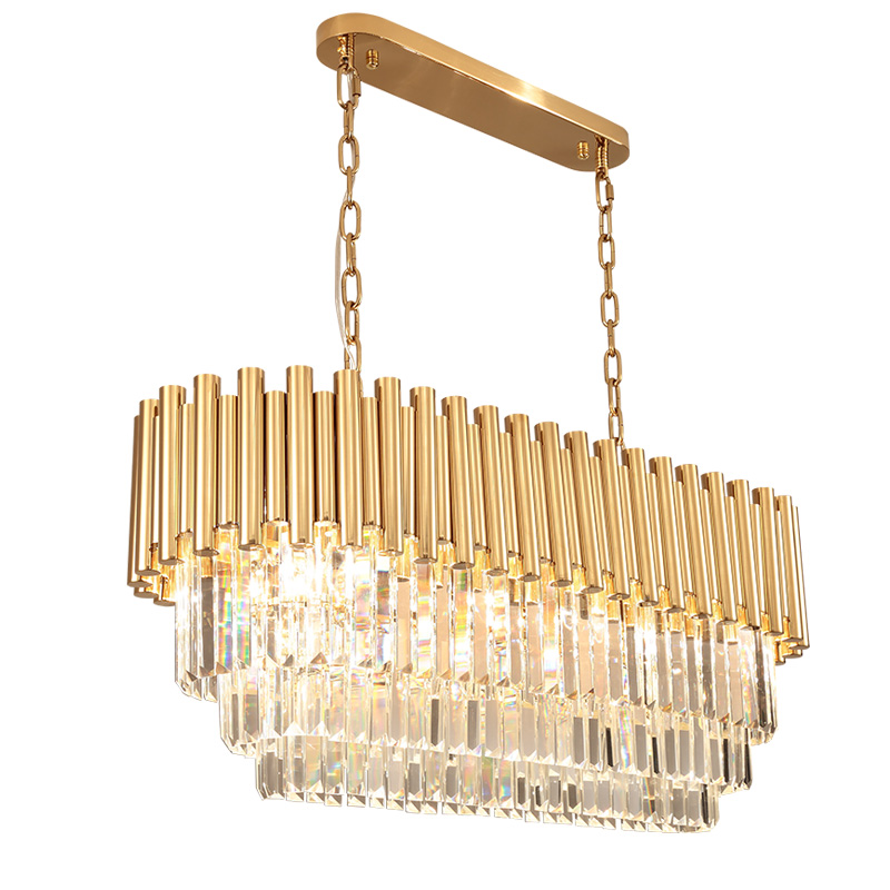 Us 747 0 10 Off Luxury Crystal Lighting Chandelier Modern Dinning Room Living Rectangular Led Lights Gold In Chandeliers From