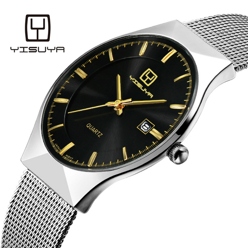 YISUYA Mens Watches Top Brand Luxury Ultra Thin Mesh Band Casual Simple Business Clock Male Date Display Gifts Relogio Masculino