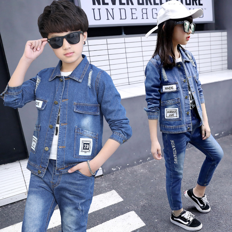 Kids Clothes Boys 4 6 8 10 12 Years Fashion Letter Denim Coat Hole Jeans Suit Cowboy Autumn Children Clothing Girls 2 Pieces