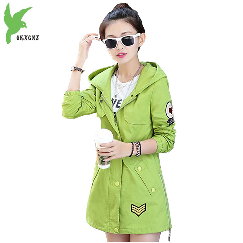 Women Spring New Cotton Trench Hooded Windbreaker Fashion Solid Color Casual Tops Plus Size Students Outerwear Coats OKXGNZ A585
