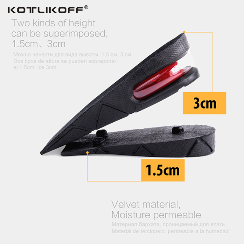 KOTLIKOFF Height Increase Insole Adjustable 2-Layer 4.5CM Air Cushion Invisible Pads Soles Insoles inserts For Shoes Men/Women