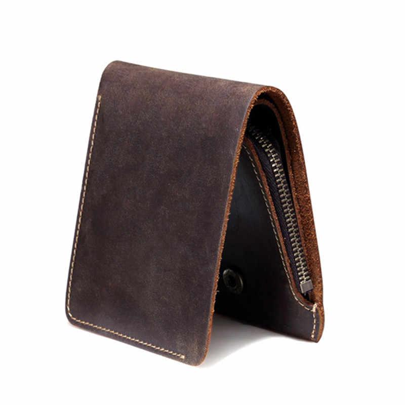 Leacool carteira de couro dos homens do vintage com zíper bolso de moedas artesanal curto bolsa de couro genuíno para o sexo masculino design criativo