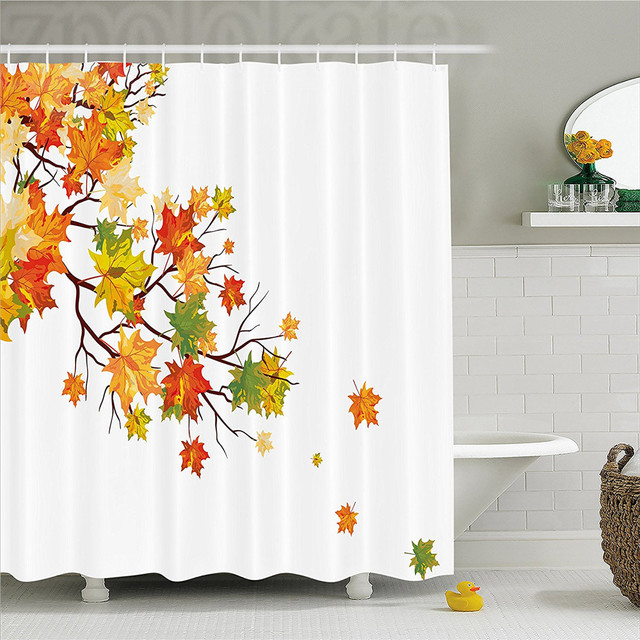 Fall Decorations Shower Curtain Image With Canadian Maple Leaves Botanical Warm To Cold Effects Bathroom