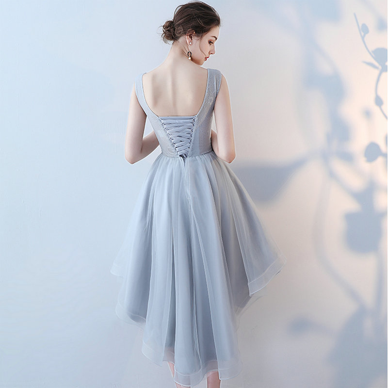 LAMYA Vintage hoge lage prom jurken vrouwen elegante avond feestjurk - Jurken voor bijzondere gelegenheden - Foto 2