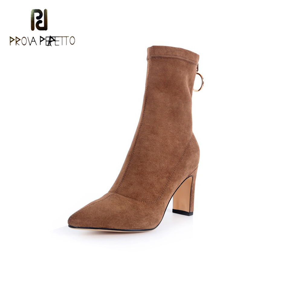 Prova Perfetto 2018 Suede Boots Women High Heel Shoes Pointed Toe Ankle Boots Ladies Winter Back Metal Big Round Zipper Boots top brand unique design black suede boots back front lace up fastening dress boots trendy ladies footwear thin high heel shoes