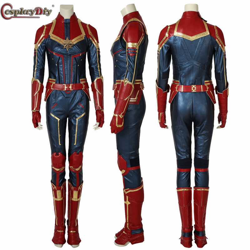 Cosplaydiy Captain Marvel Cosplay Costume Carol Danvers 2019 Superhero Halloween Costumes Ms. Marvel Carol Danvers Jumpsuit