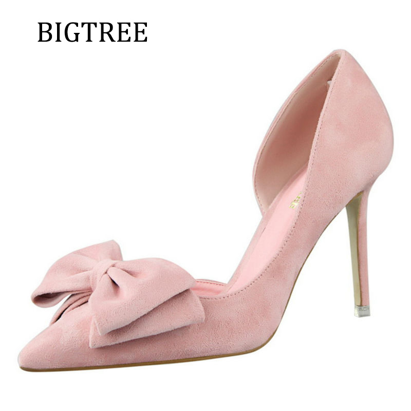 BigTree Pink High Heels Sweet Women Shoes Red Party Woman Pumps Thin heeled Flock Pointed Toe Yellow Women Female Shoe Size 39 2017 new summer women flock party pumps high heeled shoes thin heel fashion pointed toe high quality mature low uppers yc268