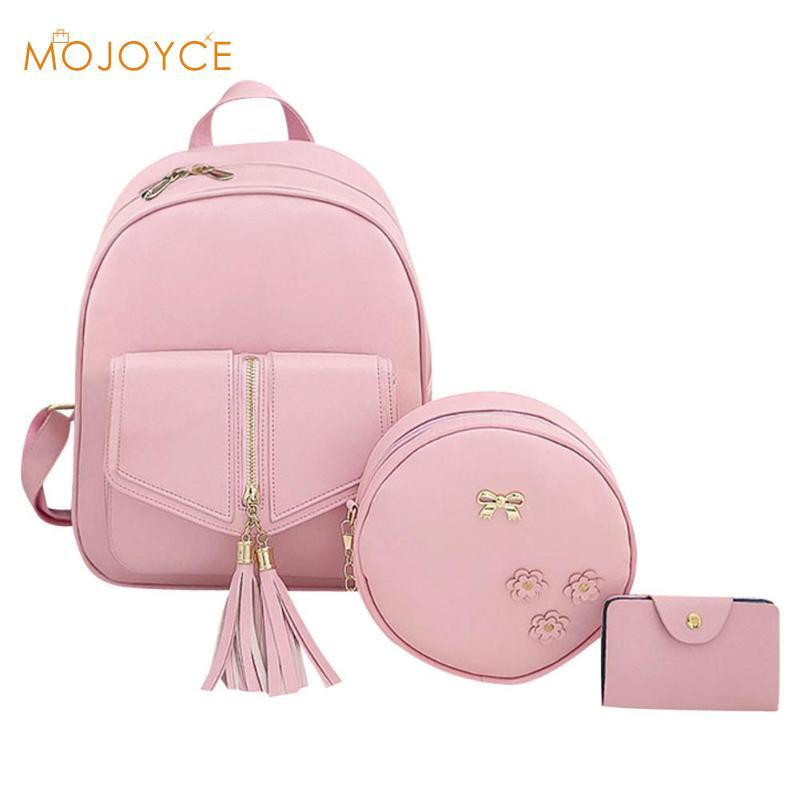 3pcs Set Bag Women Leather Backpack Fashion Cute School Backpacks For Teenage Girls Female Tassels Shoulder Bag Purse Mochila