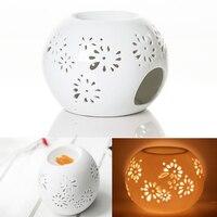 2015 New Good Quality Japanese Incense Burner Ceramics Round Pierced White Oil Burner Purify The Air