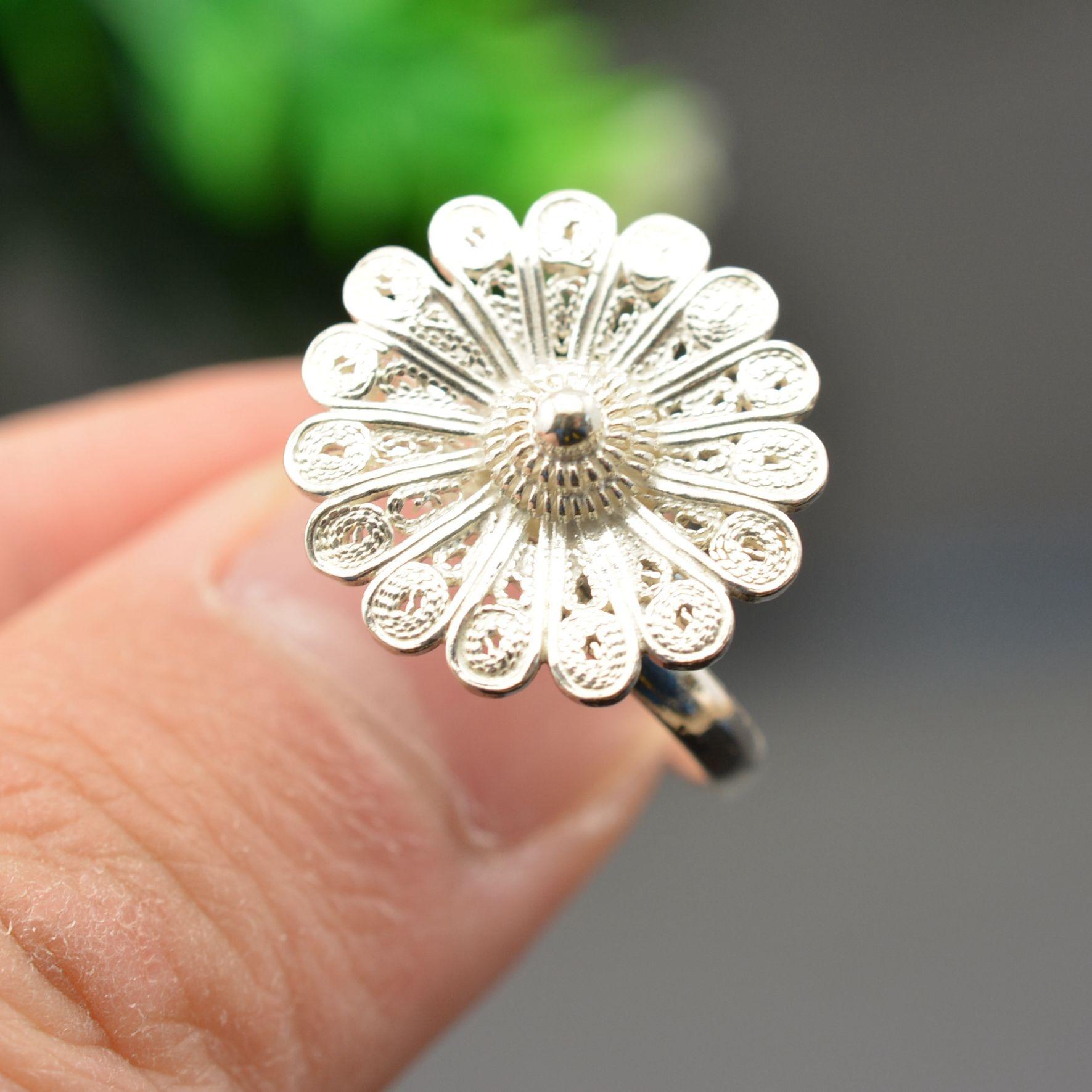 Nouveau produit Népal Bali argent 925 sterling argent fleur pétale ultrafine fil inlay anneau en vie