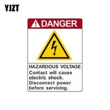 YJZT 8.5*11.3cm WARNING Danger Hazardous Voltage Contact Will Cause Electric Retro-reflective Decals Car Sticker C1-8142