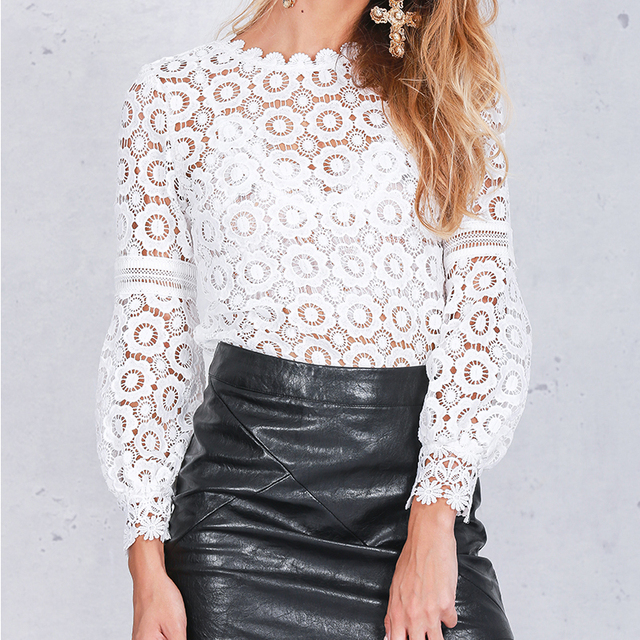Women Lantern Sleeve Lace Blouse 1