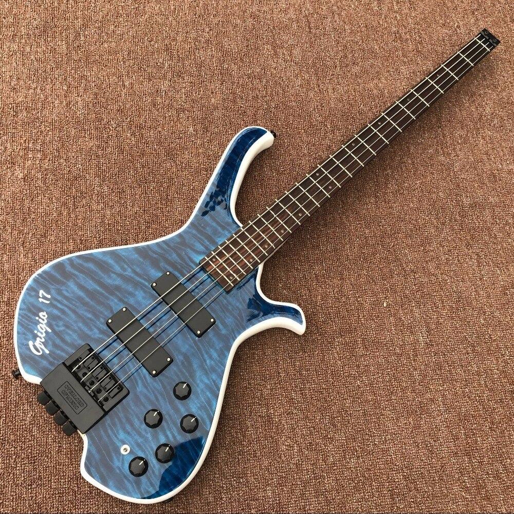 CUSTOM SHOP plateau en érable BASSE guitare électrique personnalité guitare basse ventes directes D'usine, En Forme De guitare, bleu