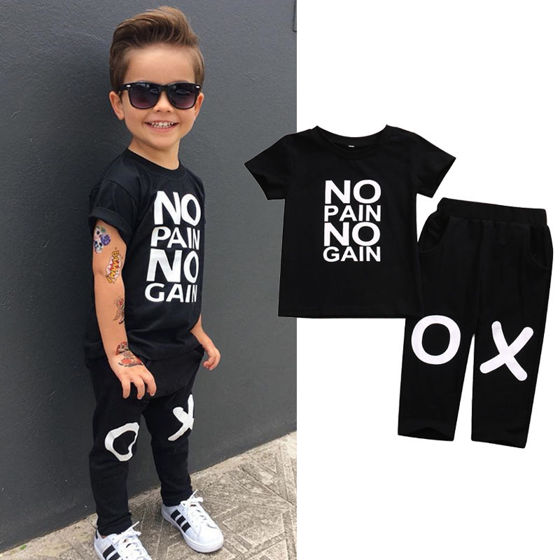 Toddler Kids Baby Boy Clothes Set Outfits Clothes No pain no gain T-shirt Top Short Sleeve Pants 2pcs Boys Clothing Set