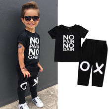 цена на Toddler Kids Baby Boy Clothes Set Outfits Clothes No pain no gain T-shirt Top Short Sleeve Pants 2pcs Boys Clothing Set