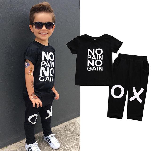 b4bb7a4c7 Toddler Kids Baby Boy Clothes Set Outfits Clothes No pain no gain T-shirt  Top