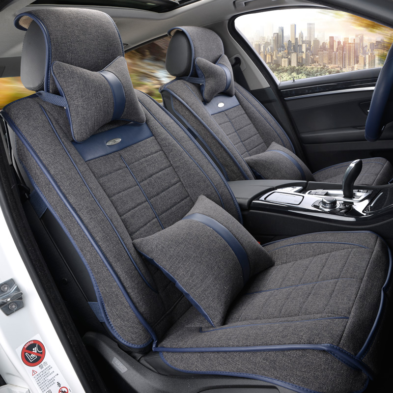 Linen car seat covers the whole summer cushion package the new four seasons universal car seat cover cloth sits set special cush