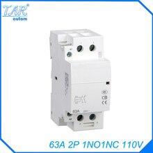 Din rail household AC contactor  63A 2P 110V 1NC 1NO Household contact module Din Rail Modular contactor цены онлайн