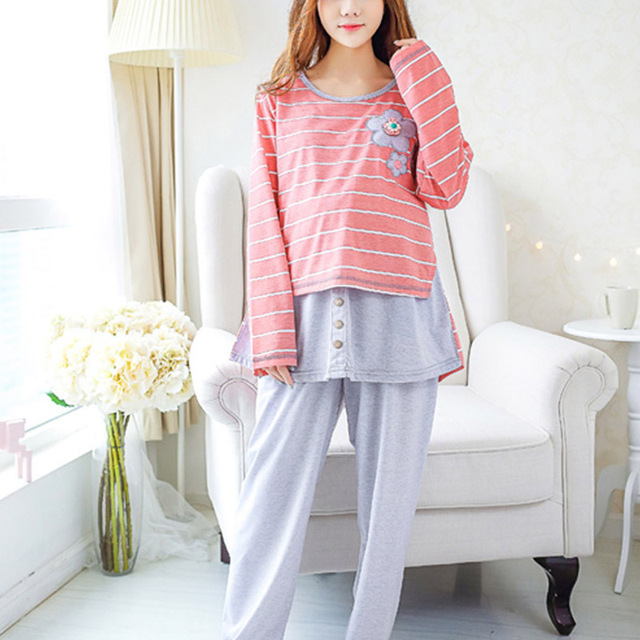 Hot Maternity Sleepwear Long Sleeve Homewear Pregnant Women Pajama Set Breastfeeding Clothing Tops+Pants