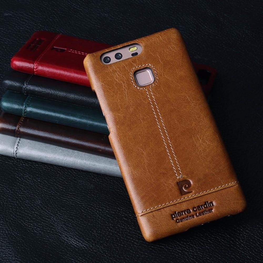 Оригинална торбица Пиерре Цардин за Хуавеи П9 Плус Торбе за телефон од праве коже Луксузна права кожа тврди задњи поклопац за Хуавеи П9