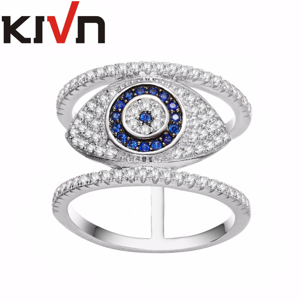 KIVN Fashion Jewelry Turkish Blue eye CZ Cubic Zirconia Womens Girls Bridal Wedding Engagement Rings Mothers Day Birthday Gifts