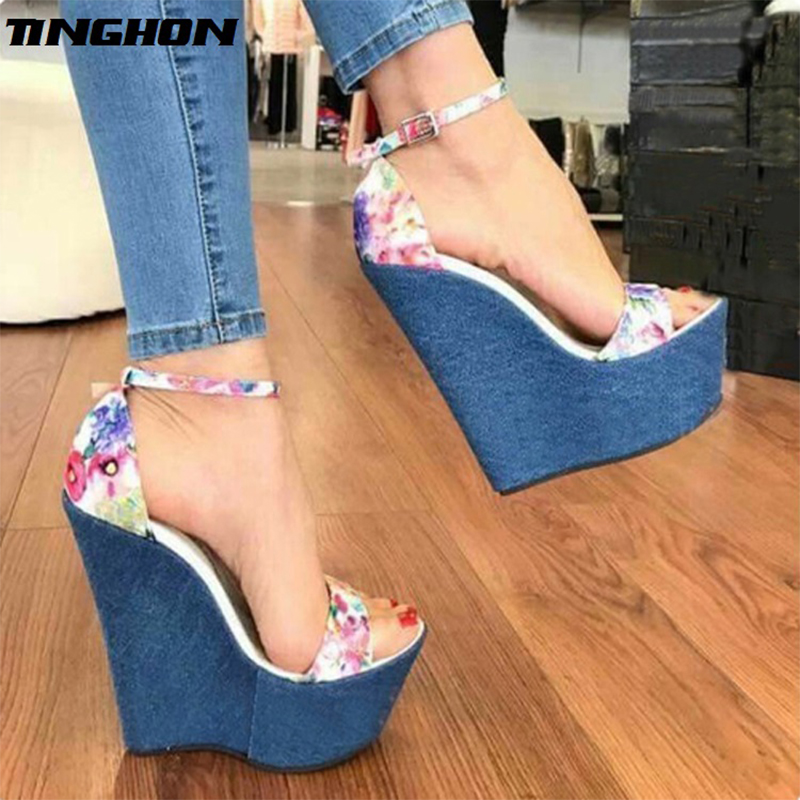 TINGHON New Designer Woman Denim Sandals Roman Sandals High Quality Wedges High Heels Peep Toe Platform Shoes in High Heels from Shoes