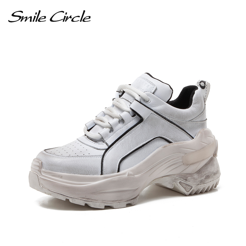 Smile Circle Sneakers platform Shoes Women fashion Lace-up High-top Chunky shoes For Women 2019 new Thick bottom Wedge sneakers Smile Circle Sneakers platform Shoes Women fashion Lace-up High-top Chunky shoes For Women 2019 new Thick bottom Wedge sneakers