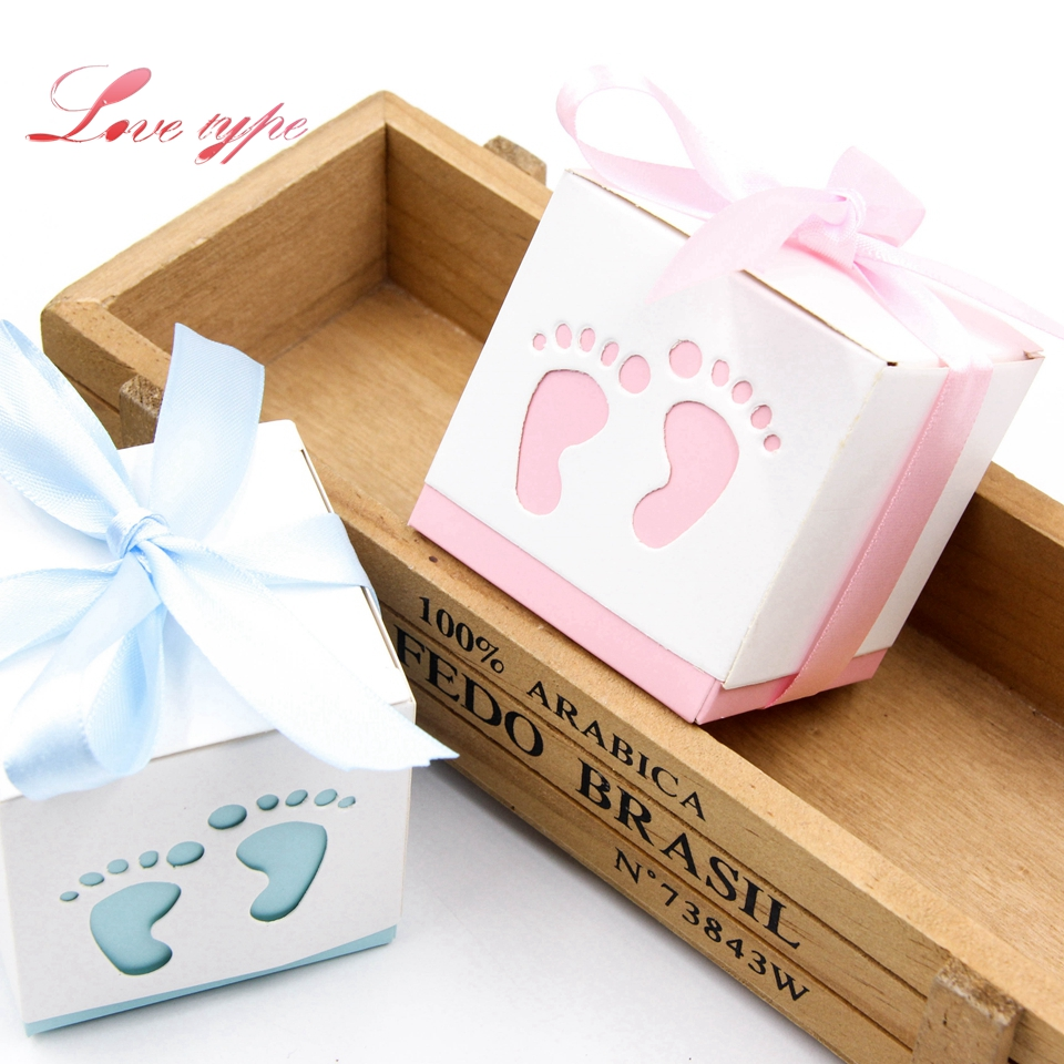 Cute Candy Box Baby Foot Blue&Pink Paper Gift Boxes Decoration For Kids Birthday Party DIY Baby Shower Supplies