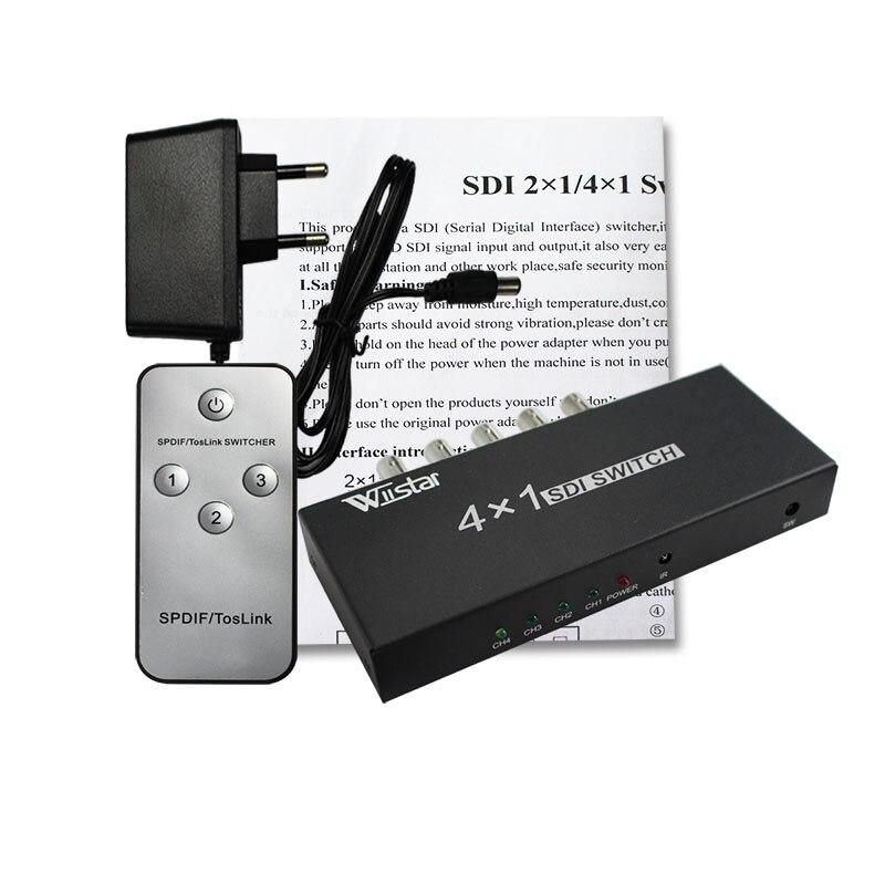 wiistar SDI Switcher 4x1 HUB SDI Intelligent Switch Extender 4 To 1 Converter for 3G HD
