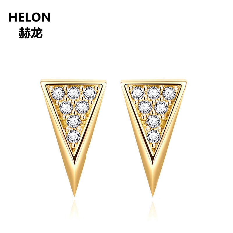 8124bff7b Solid 14k Yellow Gold SI/H Natural Diamonds Stud Earrings Women Triangle  Shape Trendy Fine Jewelry Brilliant Engagement Wedding