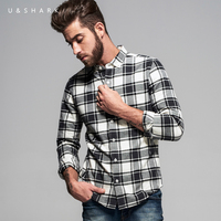 U Shark Long Sleeve Men Black Plaid Shirt Slim FIt Camisa Masculina Brand Blouse England Fashion