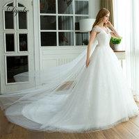 Liyuke J15 טול נהדר V-צוואר כדור שמלת חתונת שמלת משפט רכבת תחרה עד Ruched קפלים פשוט באורך רצפת כלה שמלות