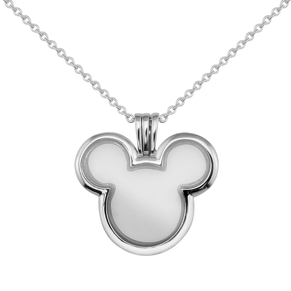 CKK Mickey collier médaillon flottant chaîne 75CM 925 pendentif en argent Sterling colliers pour femmes collier mujer bijoux originaux
