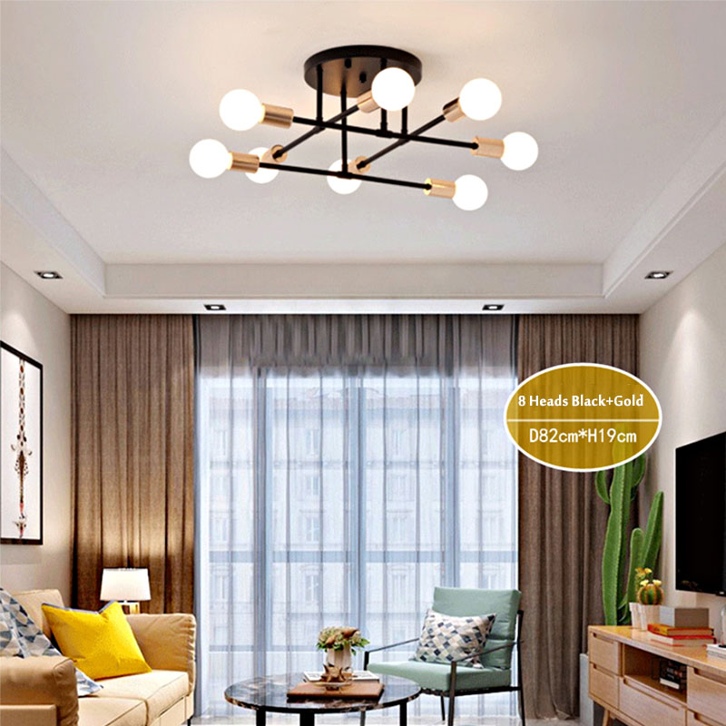 HTB1fYISc21G3KVjSZFkq6yK4XXa4 6/8 Head LED Industrial Iron Ceiling Lamp Black/Golden European Minimalist  Living Room Lighting 220V E27 Anti-Rust & Durable
