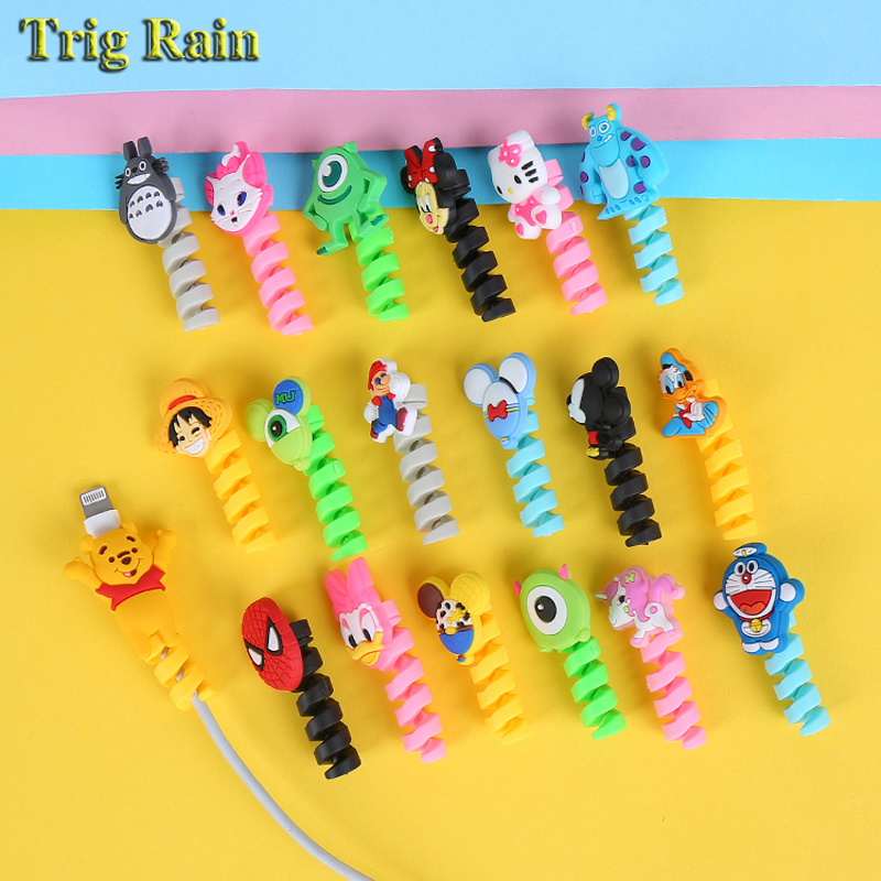 Cartoon Spiral Cable protector Data Line Silicone Bobbin winder Protective For iphone Samsung Android USB Charging earphone Case купить недорого в Москве