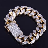 18mm Men's Chunky Iced Out Zircon Miami Cuban Link Bracelet Bling Hip Hop Jewelry Gold Silver Aaa Cz Cuban Chain Bracelet 20cm