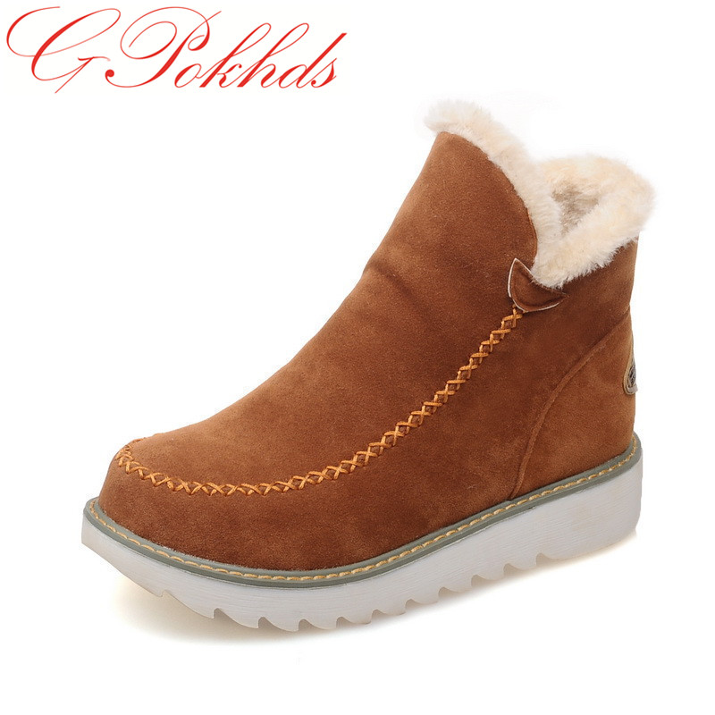GPokhds warm faux fur Plus Size 34-43 Fashion Women Boots Round Toe Ankle Snow Boots Slip-On Fashion Women Shoes Black Beige ms noki fur new fashion style black ankle boots flats pointed toe back slip on boots pu flock woman shoes with warm fur outside