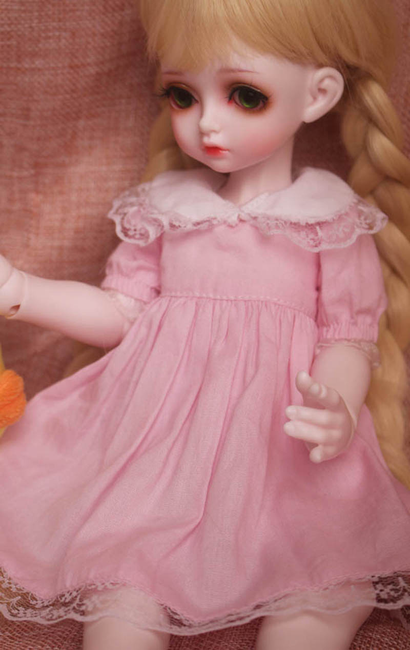 1/3 1/4 1/6 BJD SD Doll Pink Lovely Dress Clothes Volks Dod Sooms Ai Doll Dress For Girl Gift free match stockings for bjd 1 6 1 4 1 3 sd16 dd sd luts dz as dod doll clothes accessories sk1