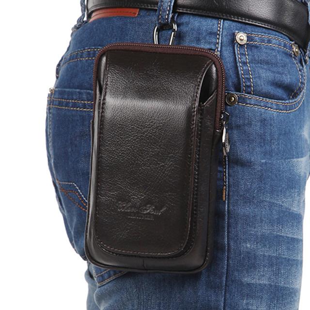 Alta Qualidade Celular/Telefone Celular Caso Bolsa de Couro Genuíno Real Travel Fashion Designer Homens Bloco de Fanny Cintura Cinto de Dinheiro gancho do Saco