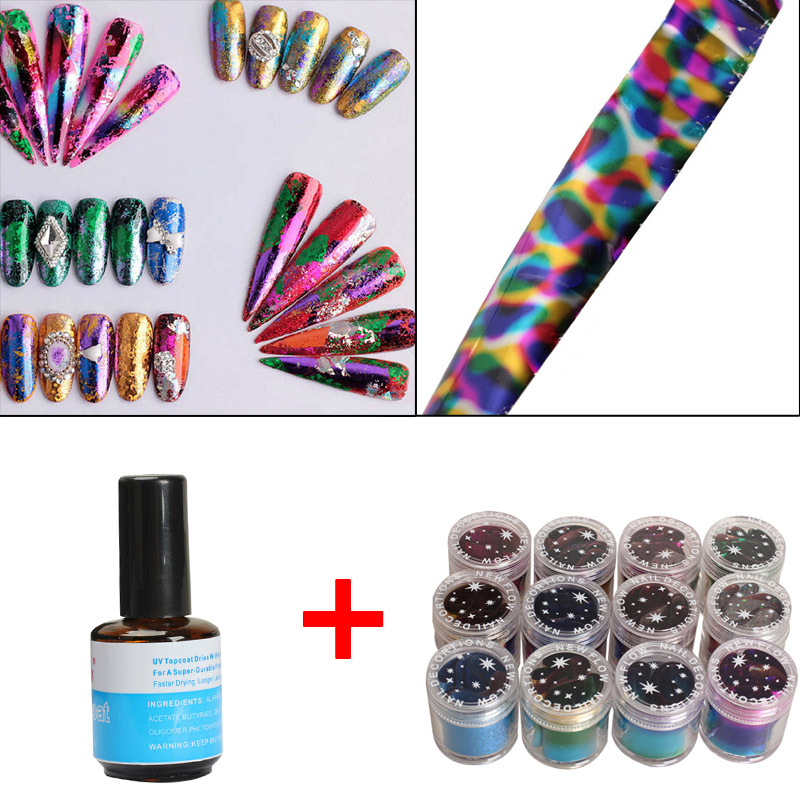 12 Rolls Mix Color Nail Art Transfer Foils Set Dazzle Colour Sticker & UV Topcoat Top Coat Seal Glue 10 color 20m rolls nail art uv gel tips striping tape line sticker diy decoration 03ik