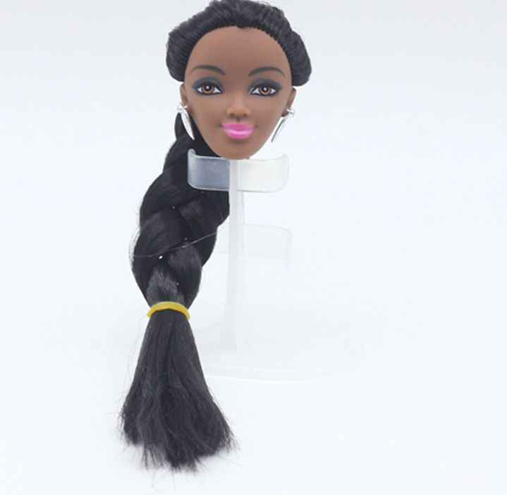 1//6 Africa Black Doll Head Straight Hair Vinyl Head DIY Cosplay Accessory