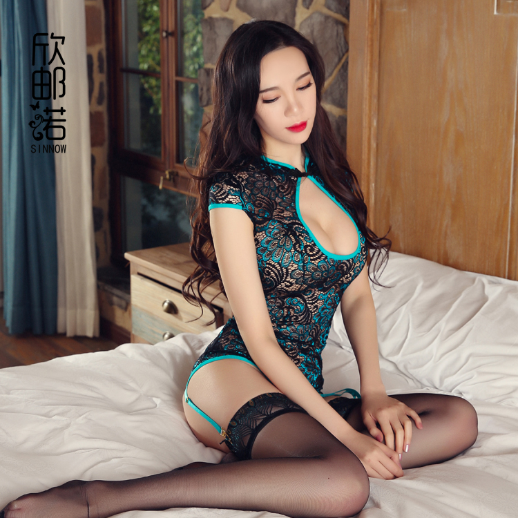 2018 New Sexy Lingerie For Women Cheongsam Belt Detail Erotic Peacock Feathers Style Back Adjustable Bandage Exotic Lingerie
