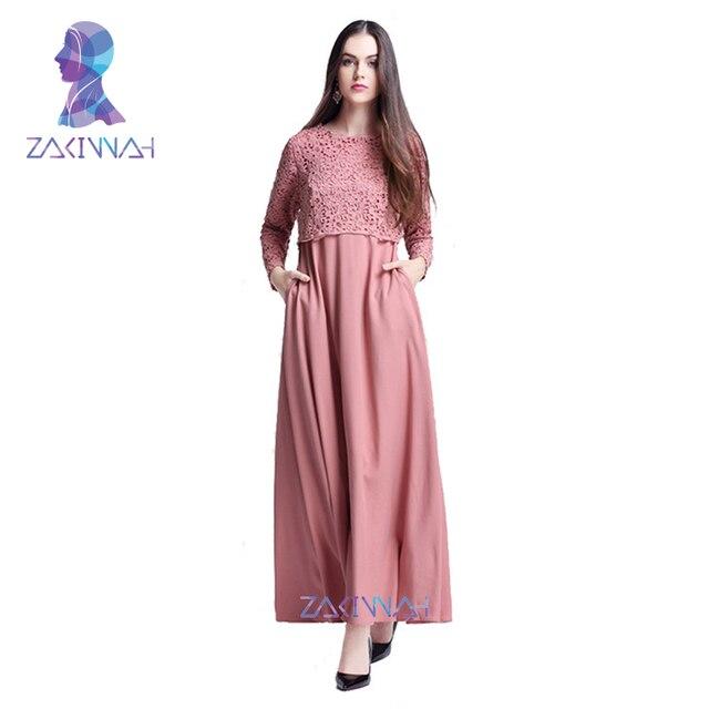New Islamic Abaya Lace Dresses Women Caftan Kaftan Malaysia Abayas Turkish  Ladies Clothing Fashion Women Muslim Dress a32bdec0389c