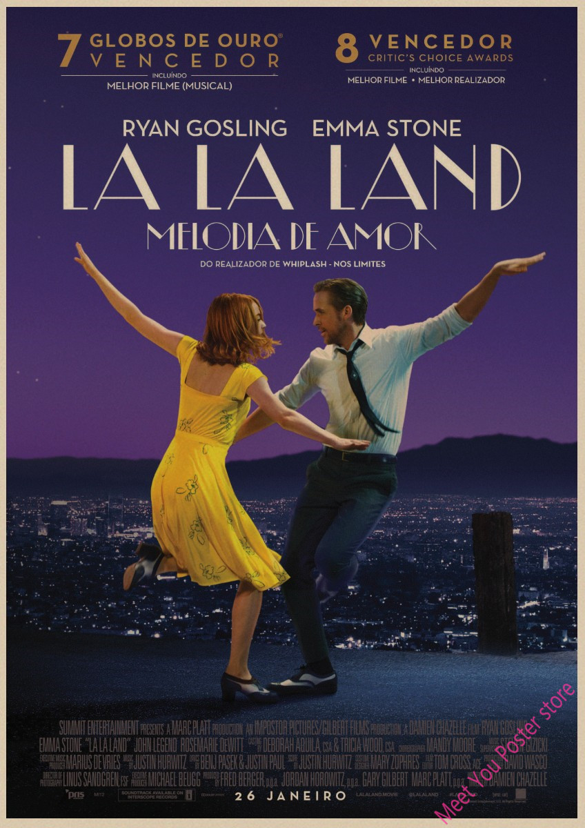 Retro Poster La La Land Movie Posters Kraft Paper Prints Wall Stickers Bar Cafe Home Decor Home Art Brand A2